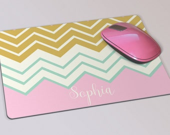 Fabric Mousepad, Mousemat, 5mm Black Rubber Base, 19 x 23 cm - Pink Chevron Stripes Pattern Customised Mousepad Mousemat