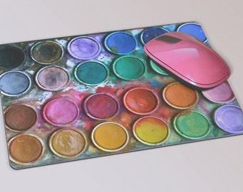 Fabric Mousepad, Mousemat, 5mm Black Rubber Base, 19 x 23 cm - Artist Paint Palette Design Mousepad Mousemat