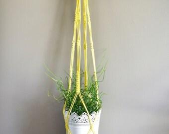 Yellow macrame plant hanger