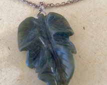 Vintage Carved Spinach JADE Leaf Pendant on 20 inch Long STERLING Chain.