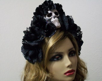 Sugar Skull Crown, Dia de los Muertos Headpiece, Book of Life, Black Rose Headband, Halloween Costume Day of the Dead
