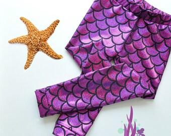 Girls Purple/Pink Metallic Mermaid Leggings. Baby Leggings. Toddler Leggings Fish scale leggings. Dance and Gymnastics