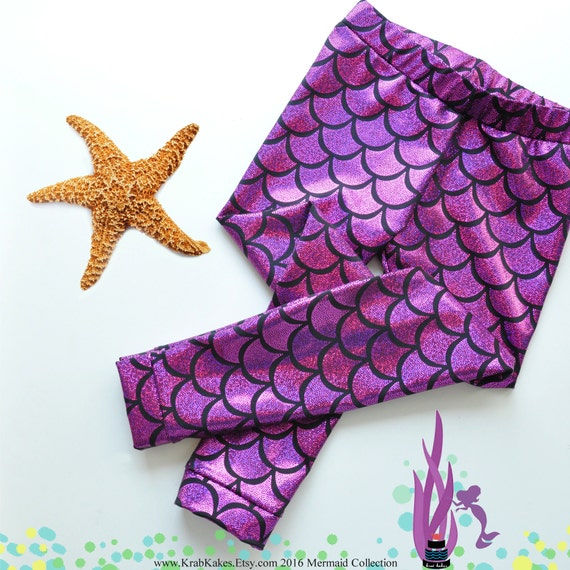 Girls Purple/Pink Metallic Mermaid Leggings. Baby Leggings. Toddler Leggings Fish scale leggings. Dance and Gymnastics