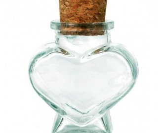 Heart glass jar with cork, 2 oz, 60 ml, small clear glass jar, recycled glass jar, DIY gift, wedding favor, party favor supply