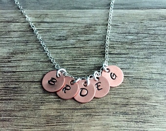 Copper Disc Initials Hand Stamped Necklace