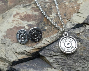 PREMIUM Chrome Plated Bullet Jewelery Set- 45 Caliber Stud Earrings and Necklace- Embellished with Swarovski Crystals