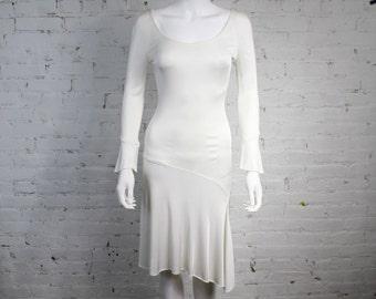 1990s Gianni Versace Couture Dress White Minimalist circa 1997 Asymmetrical Jersey Bodycon 4/38