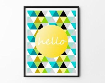 Nursery Wall Art Print // Nursery Decor // Hello // Lime Turquoise Mustard Triangles