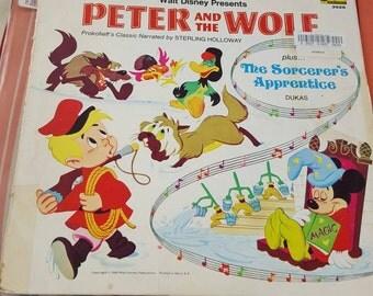 Peter and the Wolf LP Walt Disney Records - The Sorcerer's Apprentice LP - Walt Disney vintage LP - Disney collectable -  vintage Disney