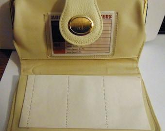 Ladies Clutch Purse, Wallet, Bone Color Leather, Ladies Bill Fold