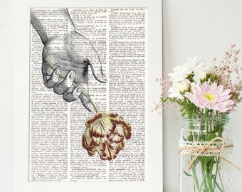 HAND AND FLOWER Dictionary Print,Botanical Dictionary Art, Dictionary Art Print, wall art, wall decor, flowers prints, floral decor, #188