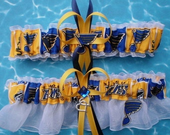 St. Louis Blues Fabric Wedding Garter Set Hockey Double Heart Charm Sport NHL
