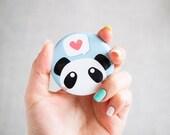 Cute Blue Panda Round Pocket Mirror - Hand Mirror - Panda Accessory