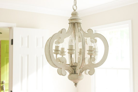 White Distressed Chandelier Painted 6 By Gracefullyrestored