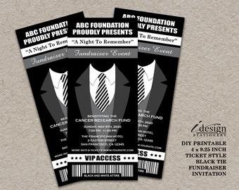 Black Tie Fundraiser Ticket Invitation   Printable Ticket Style Black And White Themed Fundraising Invitations   Charity Tuxedo Invites