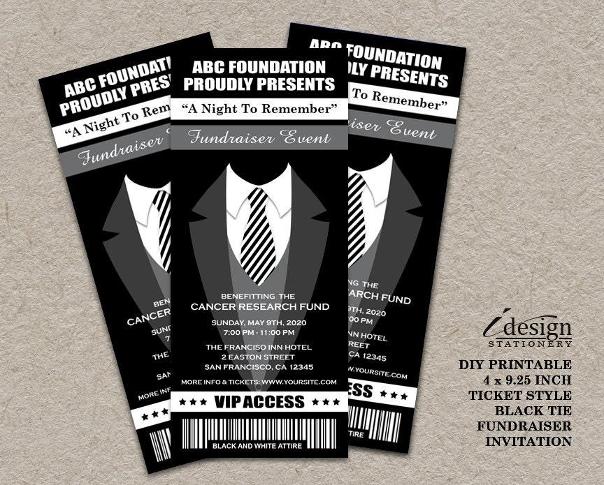 black tie fundraiser ticket invitation printable ticket