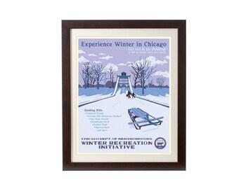Winter & Sledding in Chicago WPA-Inspired Print
