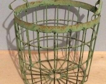 Vintage Metal Farm Basket