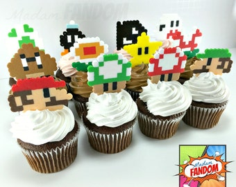 Super Mario Cupcake Toppers Reusable! I Video Game Cupcake Toppers I Super Mario Party Decorations I  Super Mario Birthday Party