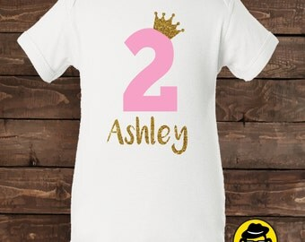 Personalized Second Birthday,Onesie, Second  Month/year Shirt, 2nd Birthday Outfit, Girls Glitter Birthday, Princess