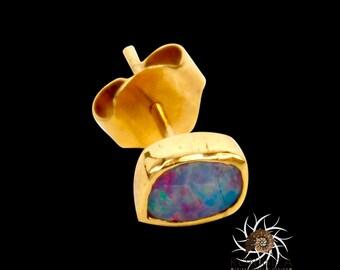 18k Studs - Gold Studs - Opal Studs - Tiny Studs - Small Studs - Tribal Studs - Indian Studs - Tiny Earrings - Small Earrings - Gemstone