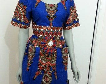 Bold print summer dress with patch pockets