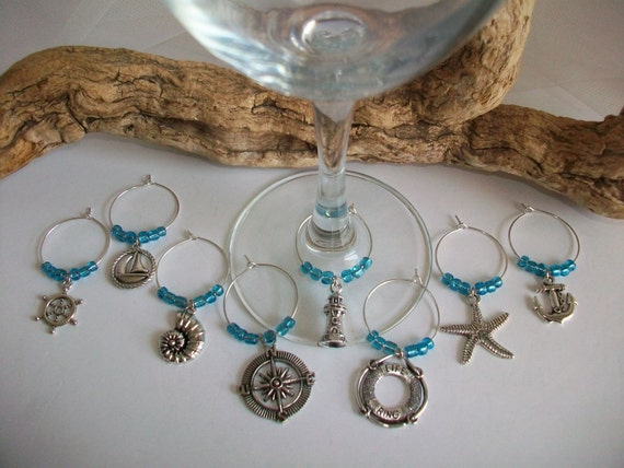 nautical theme wine glass charms bridal shower gift