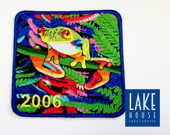 """Vintage Red Eyed Tree Frog Patch 4"""" x 4"""" SALE"""