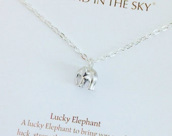Lucky 3D Silver Elephant Necklace on Gift Card