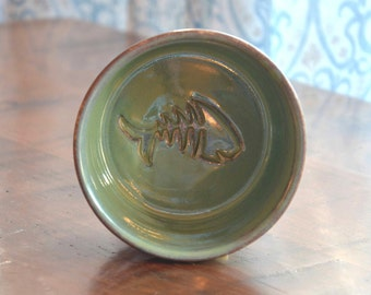 Cat Bowl - Apple Green Glaze