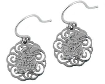 Kansas Sterling Silver Silver Dangle Earrings, Jayhawks Silver Jewelry, UKS-6105F