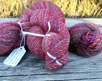 Flower Smoothie! 360 yds of hand-spun yarn. Polworth and silk. 2 ply sport weight yarn. Truly one of a kind for your special project! Soft!