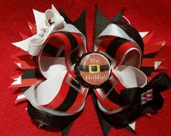 Santa layered hair bow