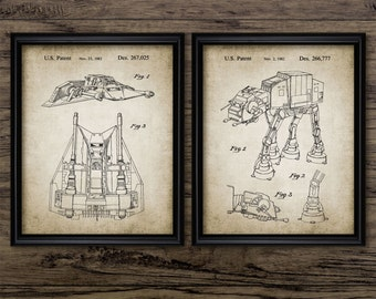 Star Wars Patent Print Set Of 2 - Rebel Alliance Snowspeeder - Imperial At At Walker - Set Of Two Prints #1153 - INSTANT DOWNLOAD