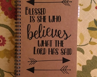 "Personalized Journal, ""Blessed is she who Believes"""