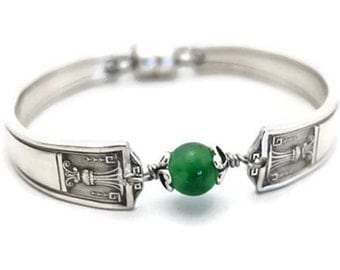 Spoon Bracelet Green Spotted Quartz Vintage Recycled Silverware Bridesmaid Jewelry Green Stone Bracelet Gifts Under 40 Century Silver Plate