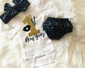 My First New Years - New Years Baby - Newborn Baby Girl - 1st New Years - Glitter Top - Sparkle Shirt - Girls Outfit