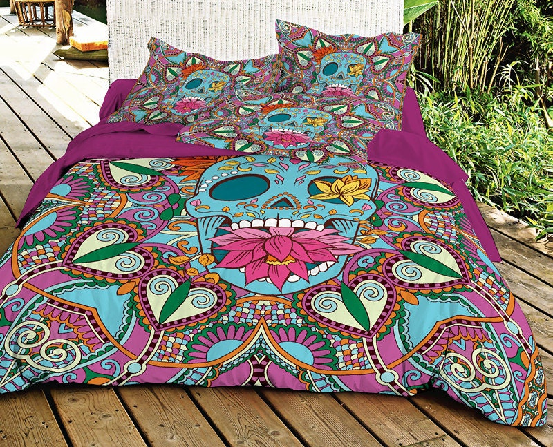 Blue Sugar Skull Bedding Set Skull Duvet Cover With Cotton