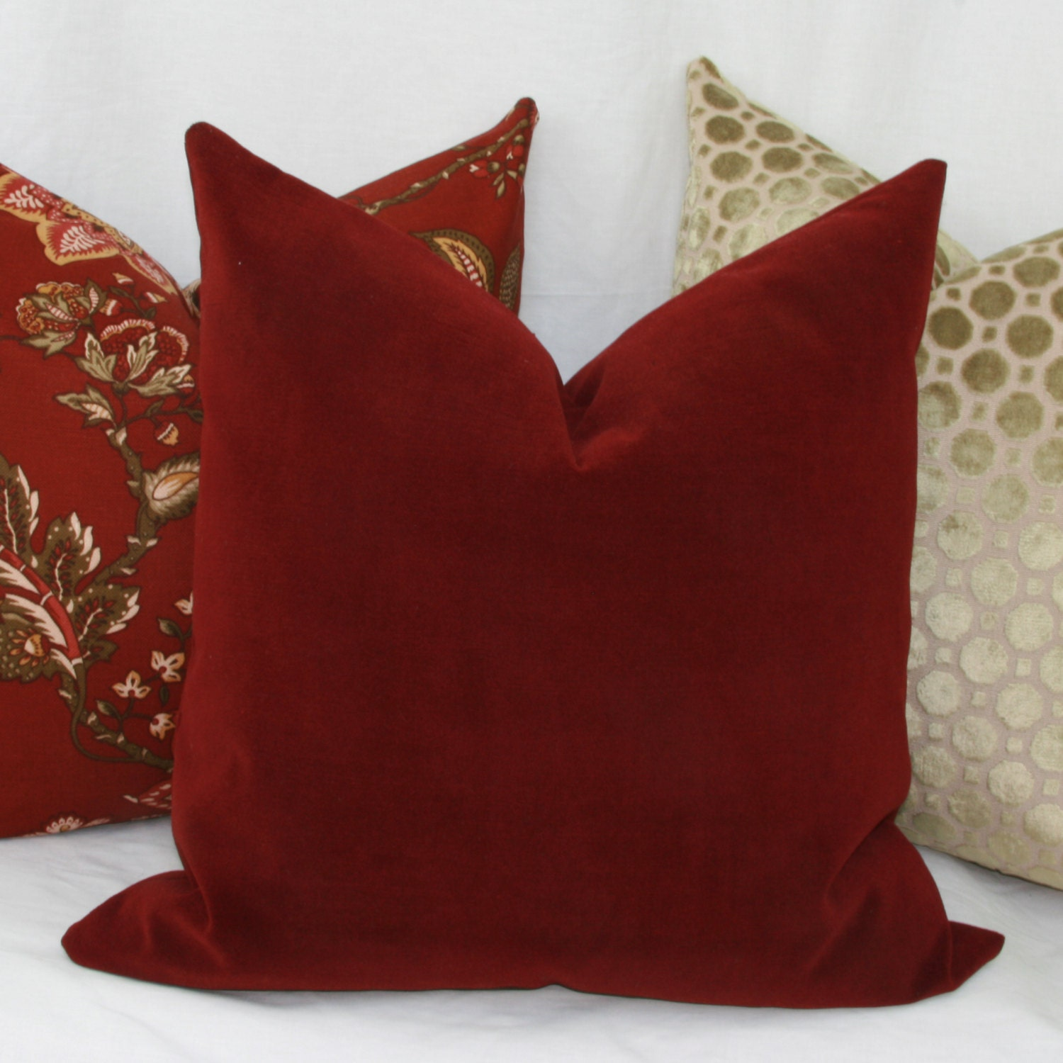 Velvet Decorative Pillow Covers : Burgundy velvet decorative throw pillow cover Lumbar pillow