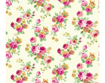 Tea Party Rose Clusters Cream 2270-14A by Quilt Gate Cotton Fabric Yardage