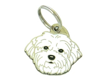 Personalised, stainless steel, breed pet tag, MjavHov, Coton de Tulear