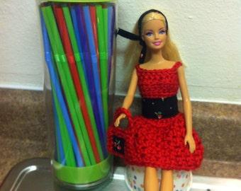 Crochet Barbie Clothes, Barbie Dress, Barbie Purse, Dress, Purse