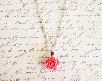 Pink Rose Necklace with Silver Chain, Pink Floral Pendant Necklace, Resin Flower Jewelry