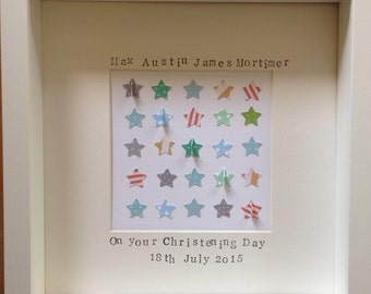 Retro personalised new baby, nursery, Christening, star picture