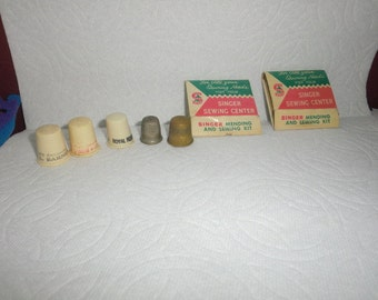 Small lot of Vintage Advertising Sewing Thimbles - Great for Shadow Boxes