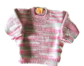 Baby Girl Sweater, Pullover sweater 3-6 Months, Knitted Multi Color Pink Baby Sweater, baby shower gift