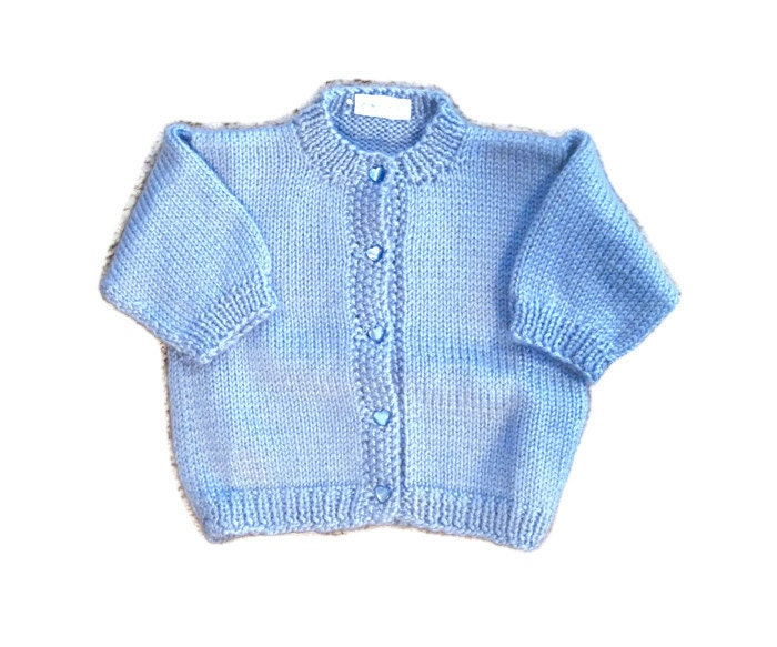 Knitting Baby Sweater Measurements : Knit baby cardigan sweater size months knitted soft blue