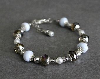 White Bead Bracelet, White Bracelet, White Glass Bracelet, White Beaded Bracelet, Grey Bracelet, White Lampwork Bracelet, Grey Bead Bracelet