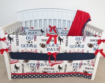 Crib bumper - Sports crib bumper set, crib bumpers, football, soccer, baseball
