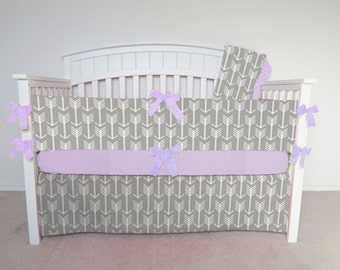 FREE SHIPPING - 4 Piece Crib Set - Gray arrow crib set